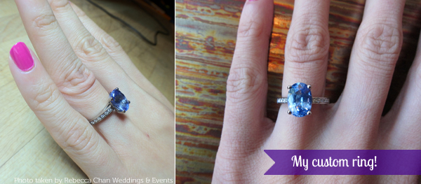 My custom diamond and sapphire engagement ring - the finished ring