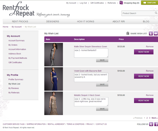Renting a dress from Rent Frock Repeat - creating a wishlist