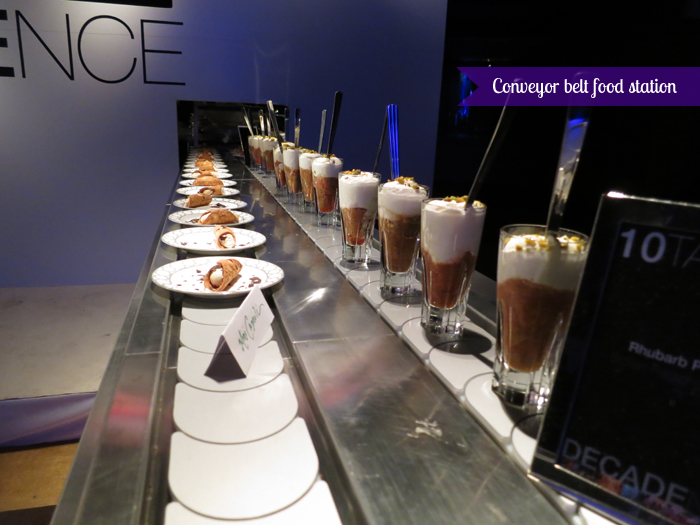 The Carlu, Decadence gala - Conveyor belt food station