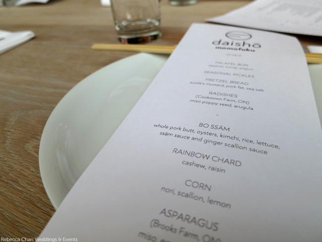 Momofuku Daisho large format menu