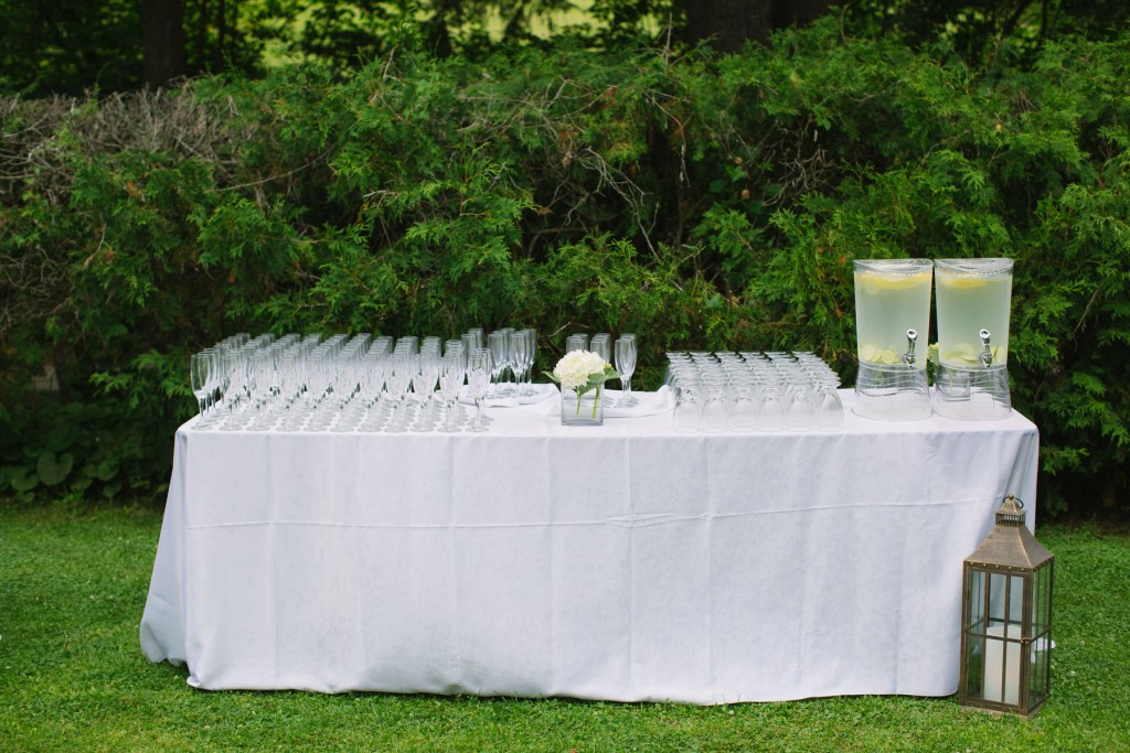 Water station to keep guests comfortable - Outdoor tented wedding tips by Rebecca Chan Weddings and Events www.rebeccachan.ca
