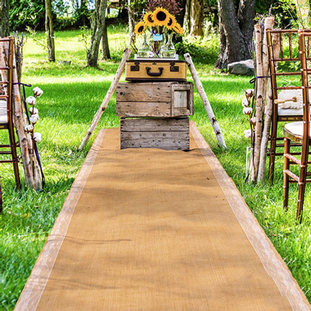 Burlap aisle runner wedding