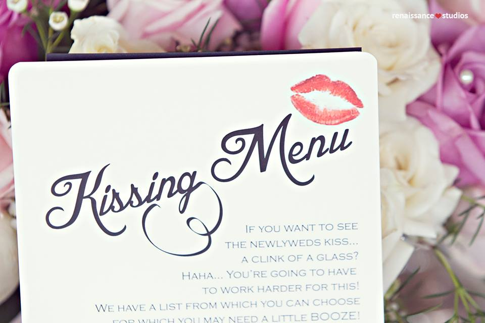 Kissing menu placed at each table. www.rebeccachan.ca