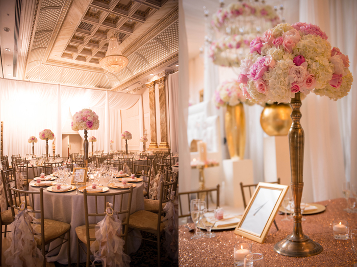 Sophisticated pink and gold centerpieces grace the reception tables. www.rebeccachan.ca