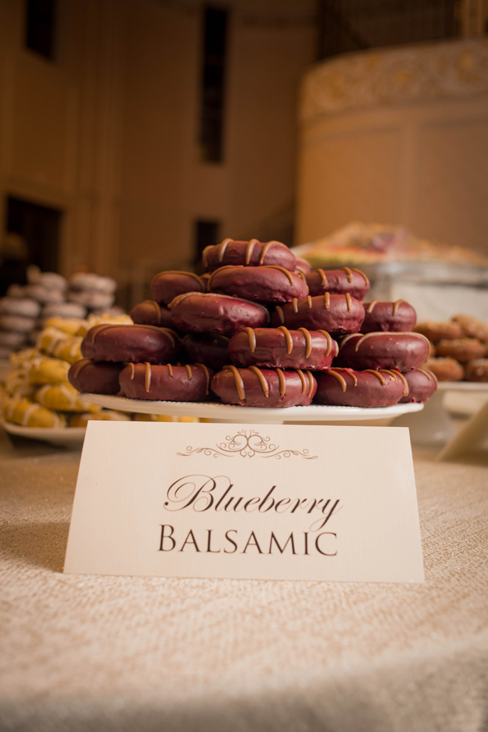 Gourmet donuts as part of sweets table. See more at Rebecca Chan Weddings and Events http://www.rebeccachan.ca