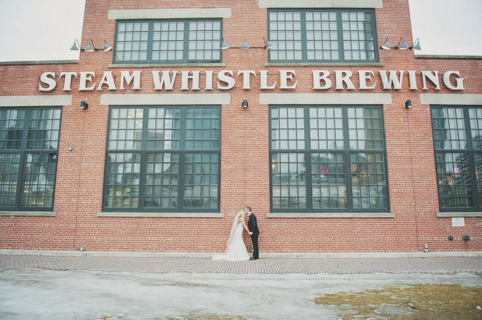 Wedding photos at the Steam Whistle Brewery. See more at Rebecca Chan Weddings and Events http://www.rebeccachan.ca
