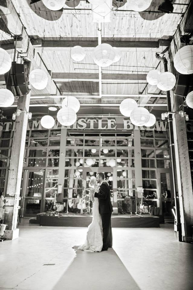 First dance at the Steam Whistle Brewery. See more at Rebecca Chan Weddings and Events http://www.rebeccachan.ca