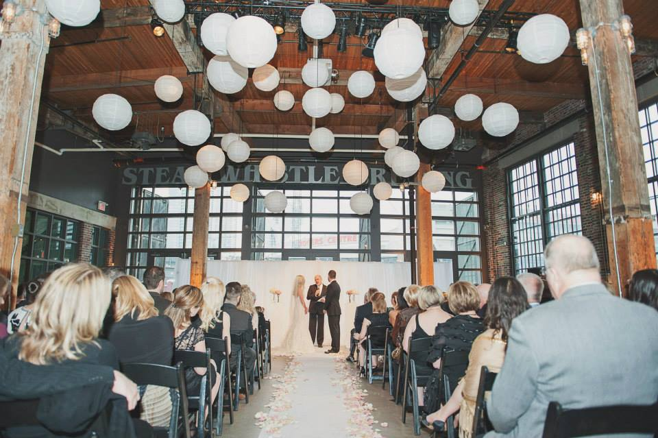 Wedding ceremony at the Steam Whistle Brewery. See more at Rebecca Chan Weddings and Events http://www.rebeccachan.ca