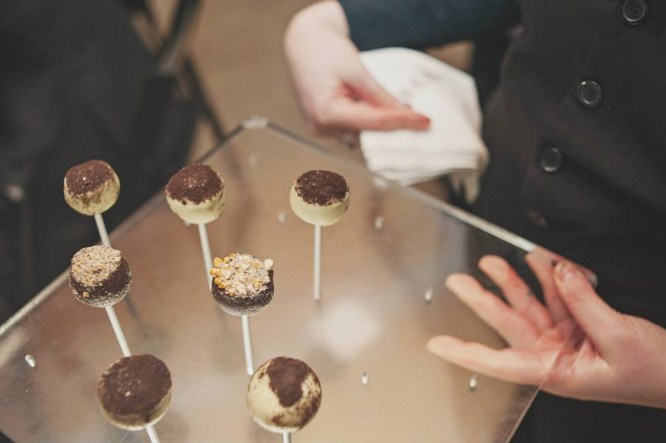 Dessert pops on custom plexi-glass tray. See more at Rebecca Chan Weddings and Events http://www.rebeccachan.ca