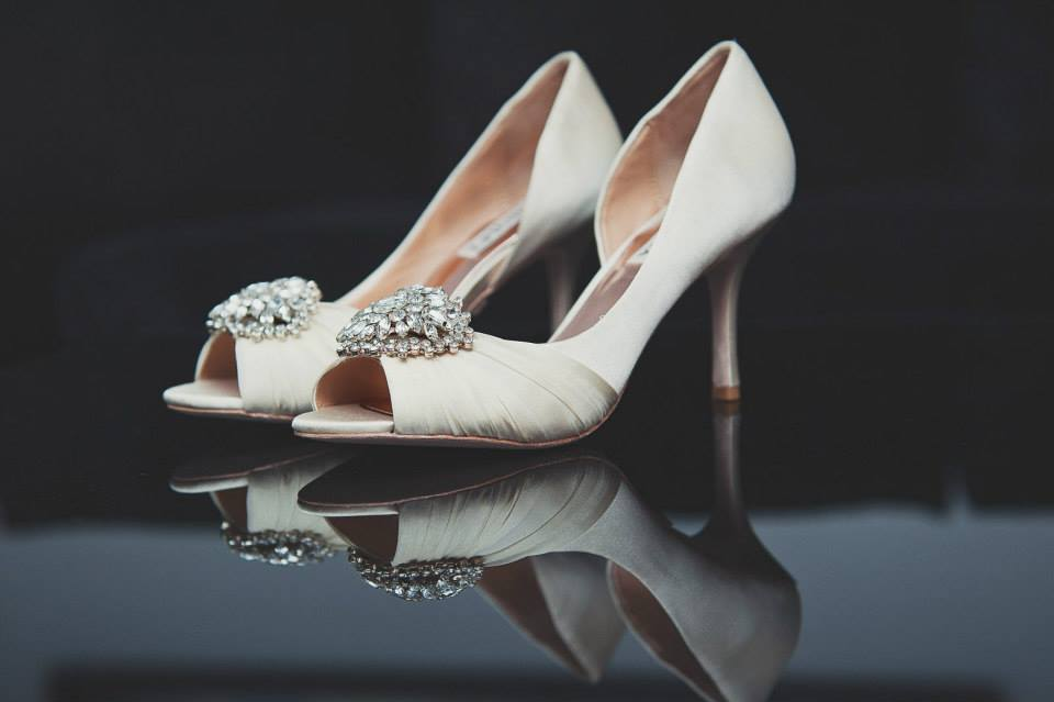 Badgley Mischka heels. See more at Rebecca Chan Weddings and Events http://www.rebeccachan.ca