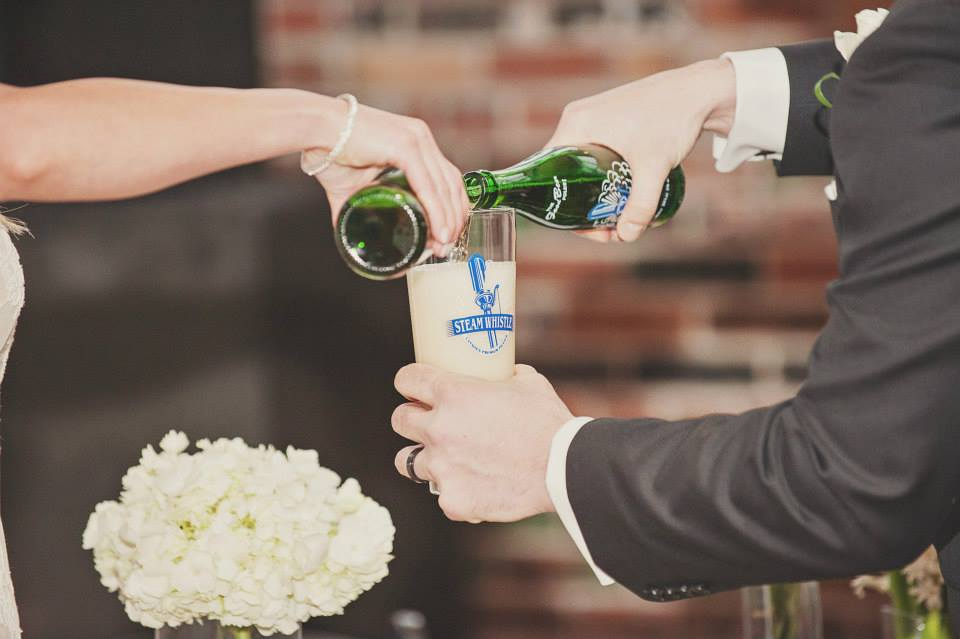 Wedding unit ceremony, pouring of Steam Whistle beer at the Steam Whistle Brewery, Toronto. See more at Rebecca Chan Weddings and Events http://www.rebeccachan.ca