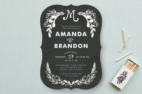 Calk board inspired wedding invitation