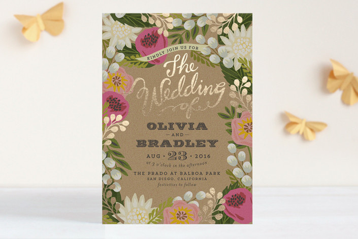 floral canopy foil pressed invitations rebecca chan weddings events