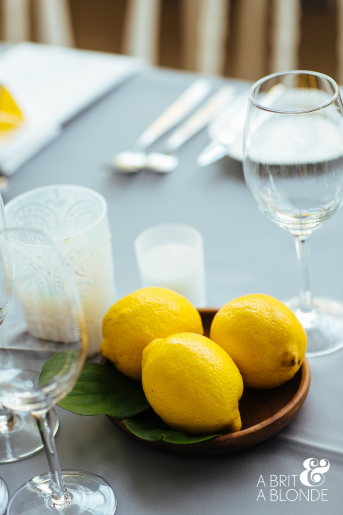Lemon accents for wedding decor.
