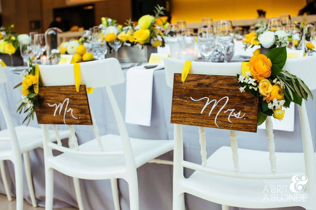 Rustic bride and groom chair signs. Modern yellow wedding at Royal Conservatory of Music.