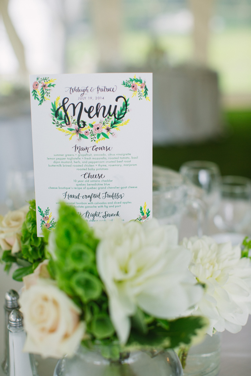 Custom illustrated menu card with white and green floral. See more at Rebecca Chan Weddings and Events http://www.rebeccachan.ca