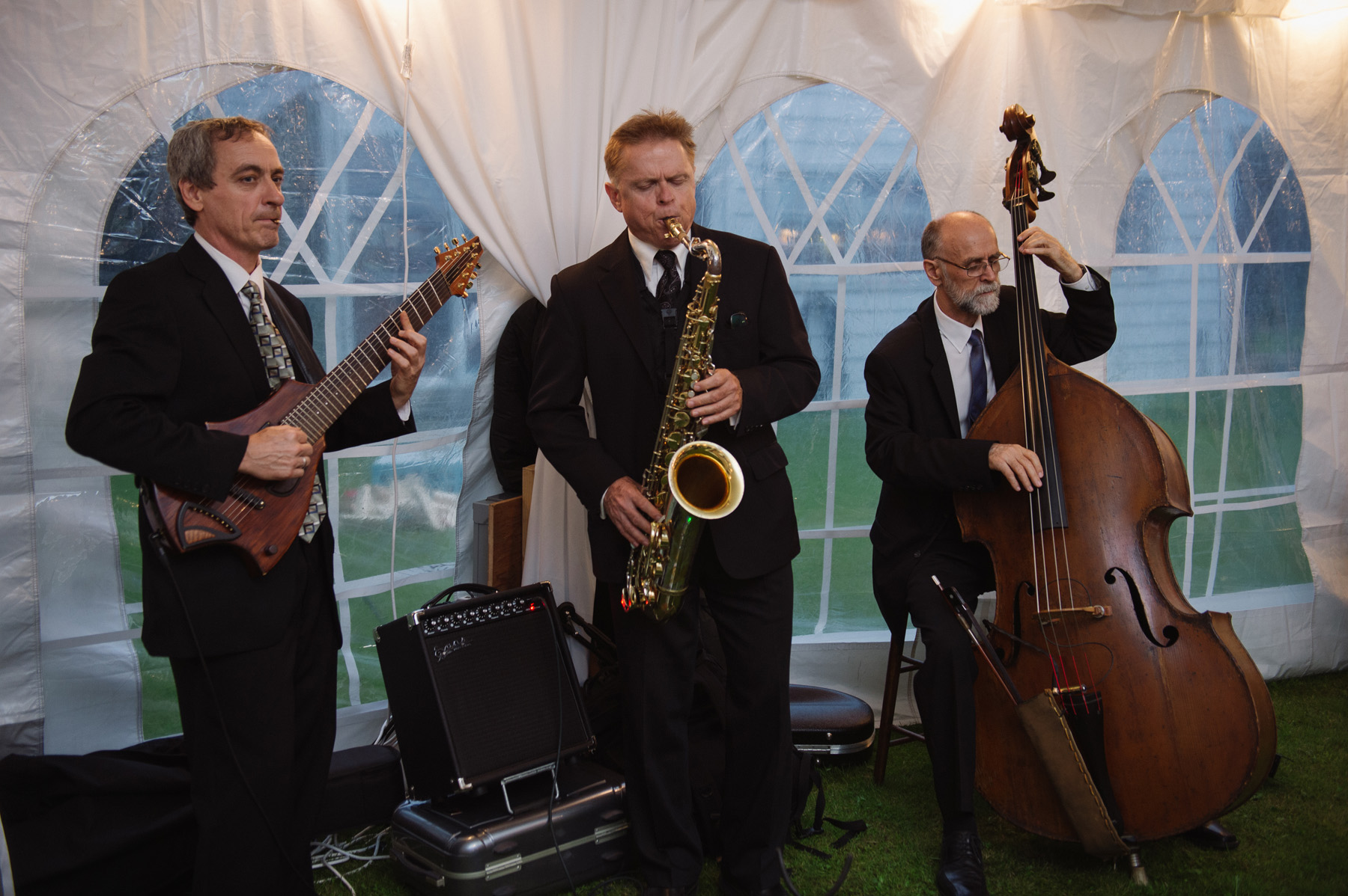 Jazz trio at a backyard tented Ontario wedding. See more at Rebecca Chan Weddings and Events http://www.rebeccachan.caa