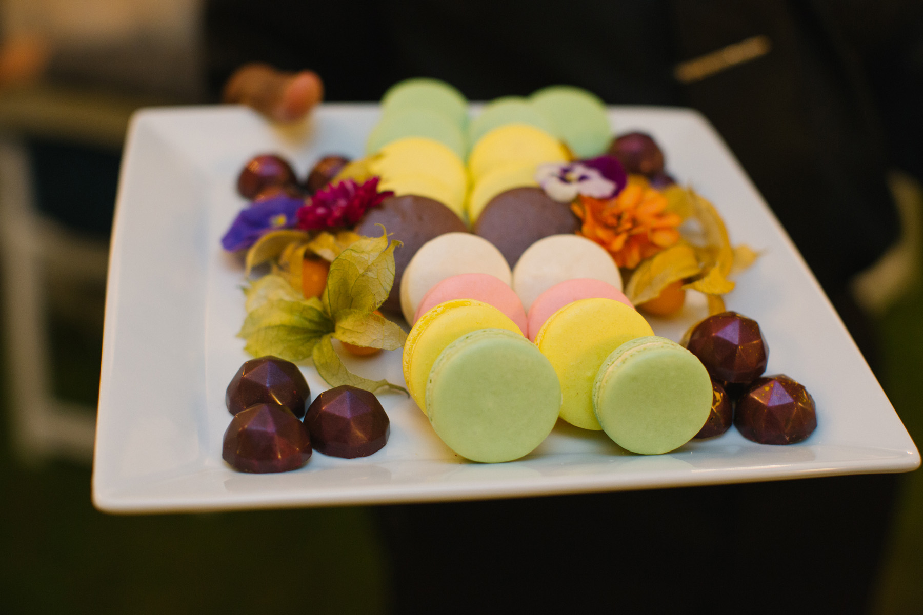 Macaron and sweets plate at a backyard tented Ontario wedding. See more at Rebecca Chan Weddings and Events http://www.rebeccachan.ca