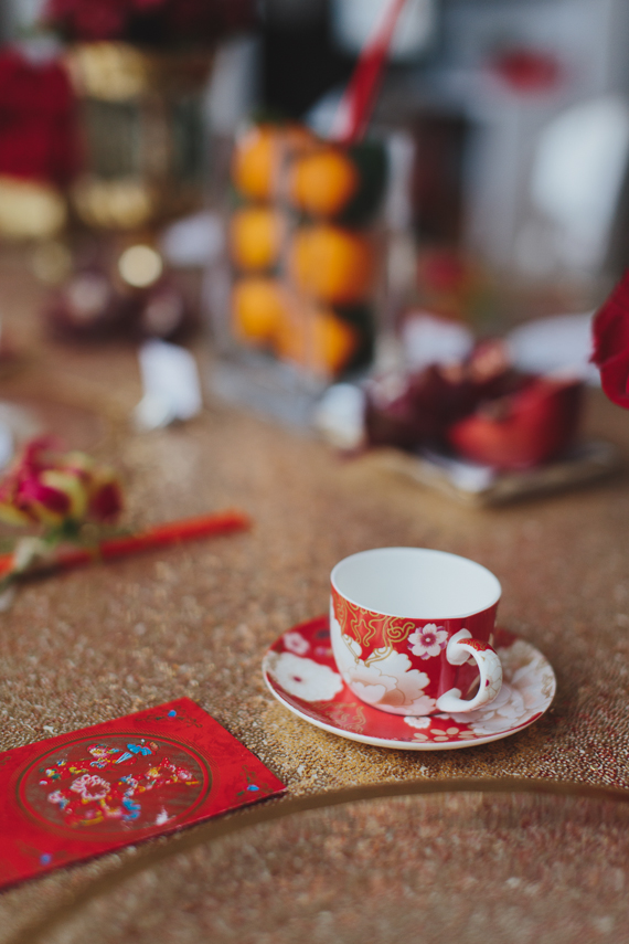 Chic Gold and Red Chinese New Year Dinner Party tea cup. See more at Rebecca Chan Weddings and Events http://www.rebeccachan.ca