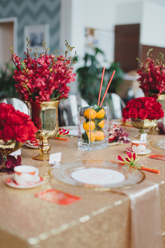 Chic Gold and Red Chinese New Year Dinner Party