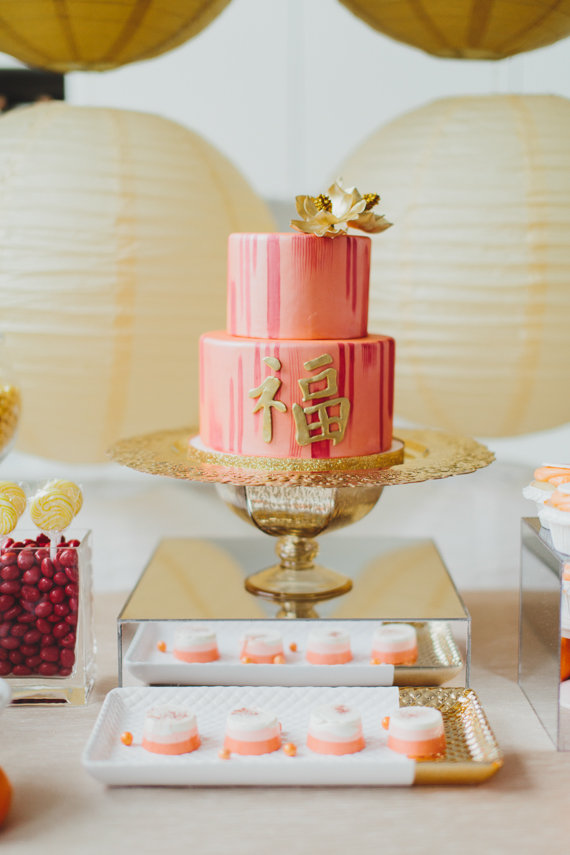 Chic Gold and Red Chinese New Year Dinner Party cake and sweets table. See more at Rebecca Chan Weddings and Events http://www.rebeccachan.ca