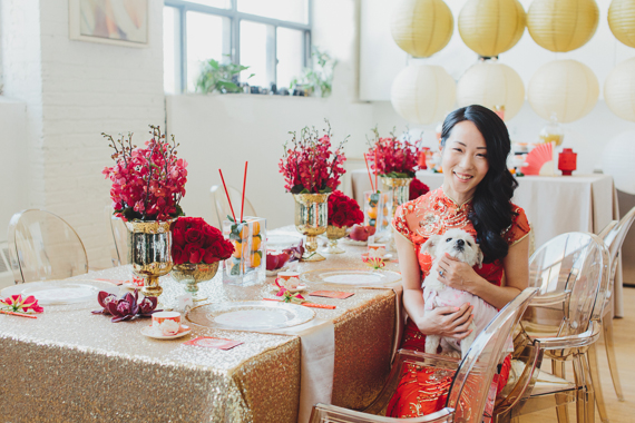 chic gold and red chinese new year dinner party ideas at wwwrebeccachanca