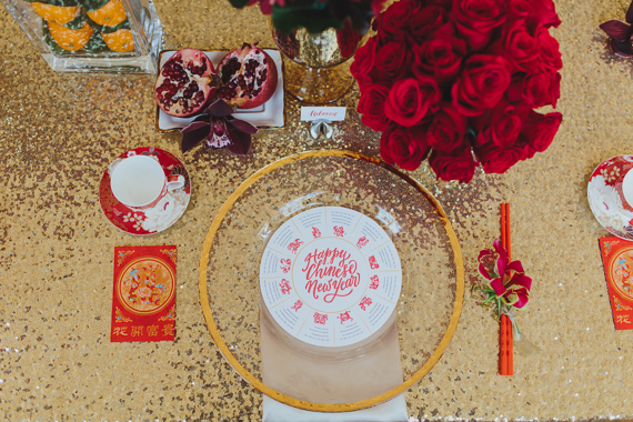 Chic Gold and Red Chinese New Year Dinner Party. See more at Rebecca Chan Weddings and Events http://www.rebeccachan.ca