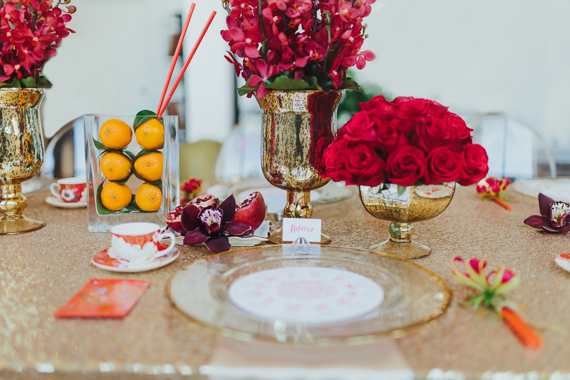 Chic Chinese New Year Inspired dinner party place setting. See more at Rebecca Chan Weddings and Events http://www.rebeccachan.ca