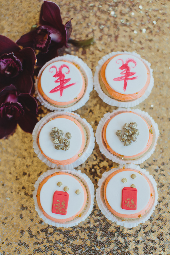 Chic Gold and Red Chinese New Year Dinner Party desserts. See more at Rebecca Chan Weddings and Events http://www.rebeccachan.ca