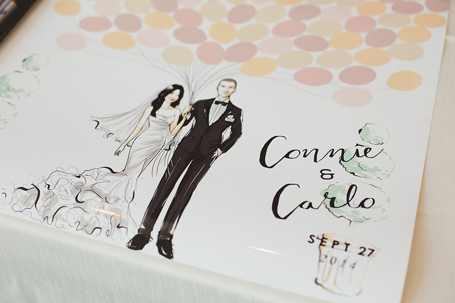Custom illustrated guestbook for a chic pink and gold wedding. See more at Rebecca Chan Weddings and Events: http://www.rebeccachan.ca