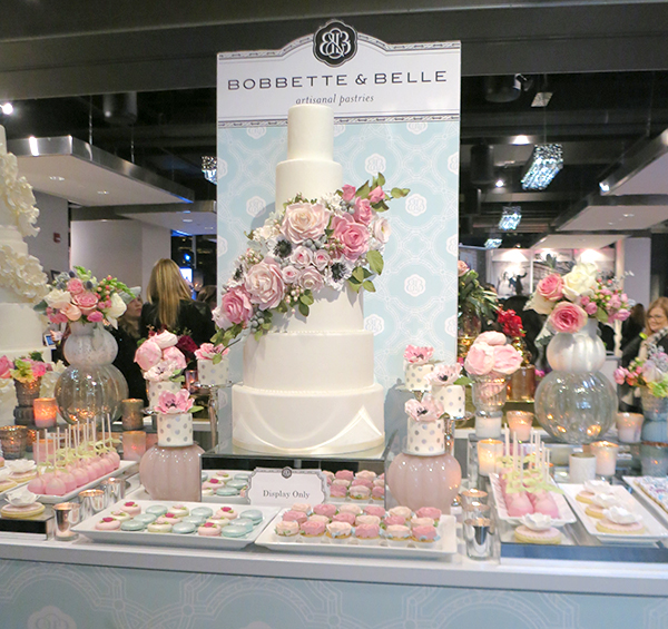 Beautiful sweets table with a soft pink and blue colour palette from Bobbette & Belle. Bold Floral and Floral Cake Ideas from the Wedluxe Show 2015. For more ideas, visit Rebecca Chan Weddings and Events at www.rebeccachan.ca