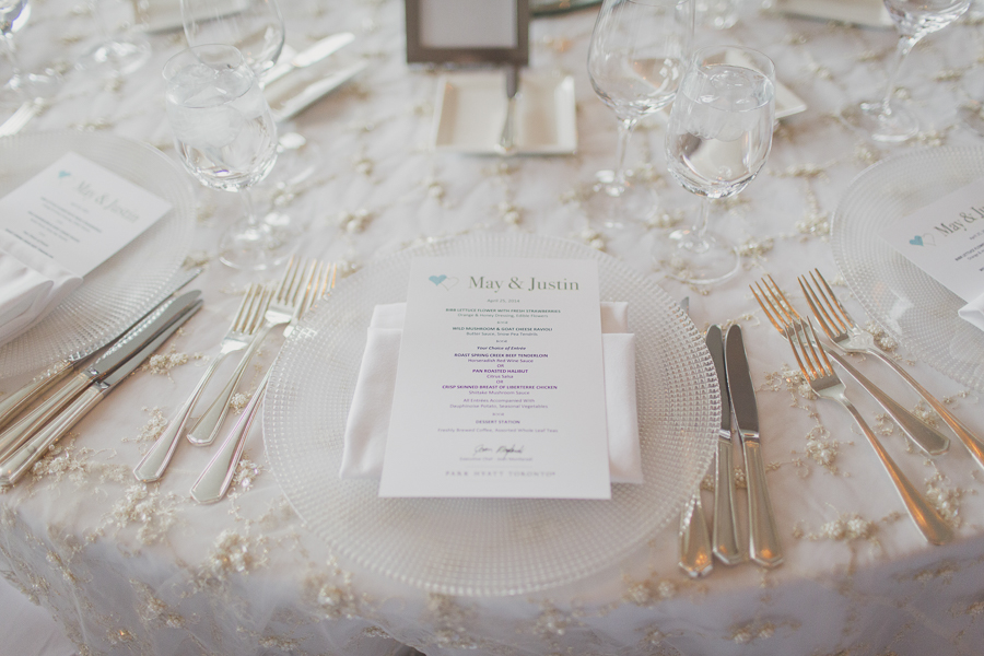 Custom menu on crystal charger, with beaded lace linen. See more at Rebecca Chan Weddings and Events http://www.rebeccachan.ca