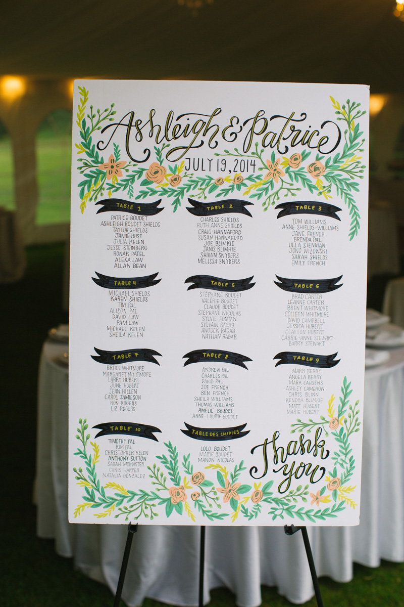 Custom illustrated floral seating chart. See more at Rebecca Chan Weddings and Events http://www.rebeccachan.ca