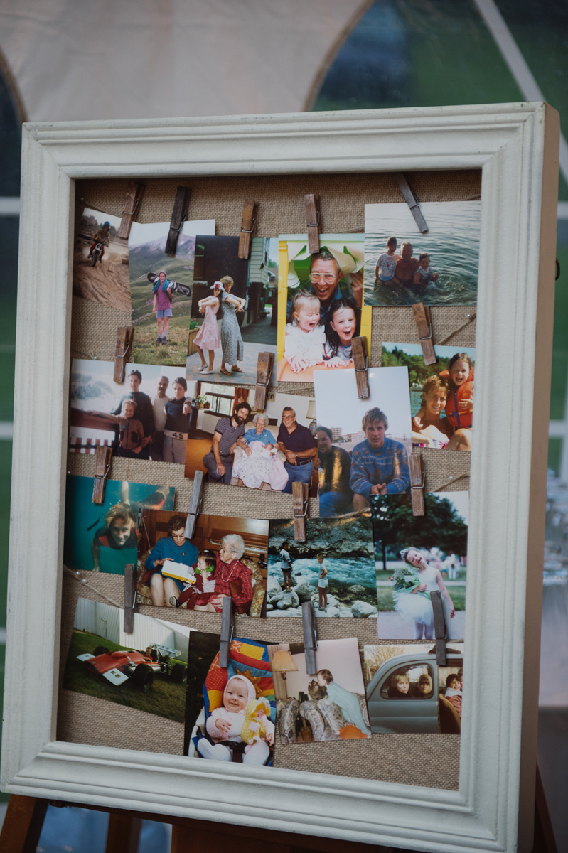 Framed DIY photo collage. See more at Rebecca Chan Weddings and Events http://www.rebeccachan.ca