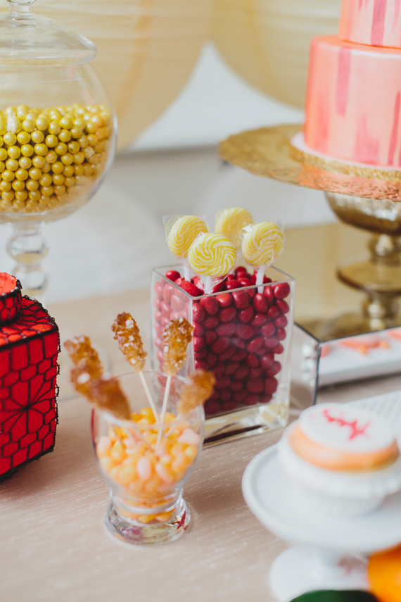 Red and gold candy for sweets table. See more at Rebecca Chan Weddings and Events http://www.rebeccachan.ca