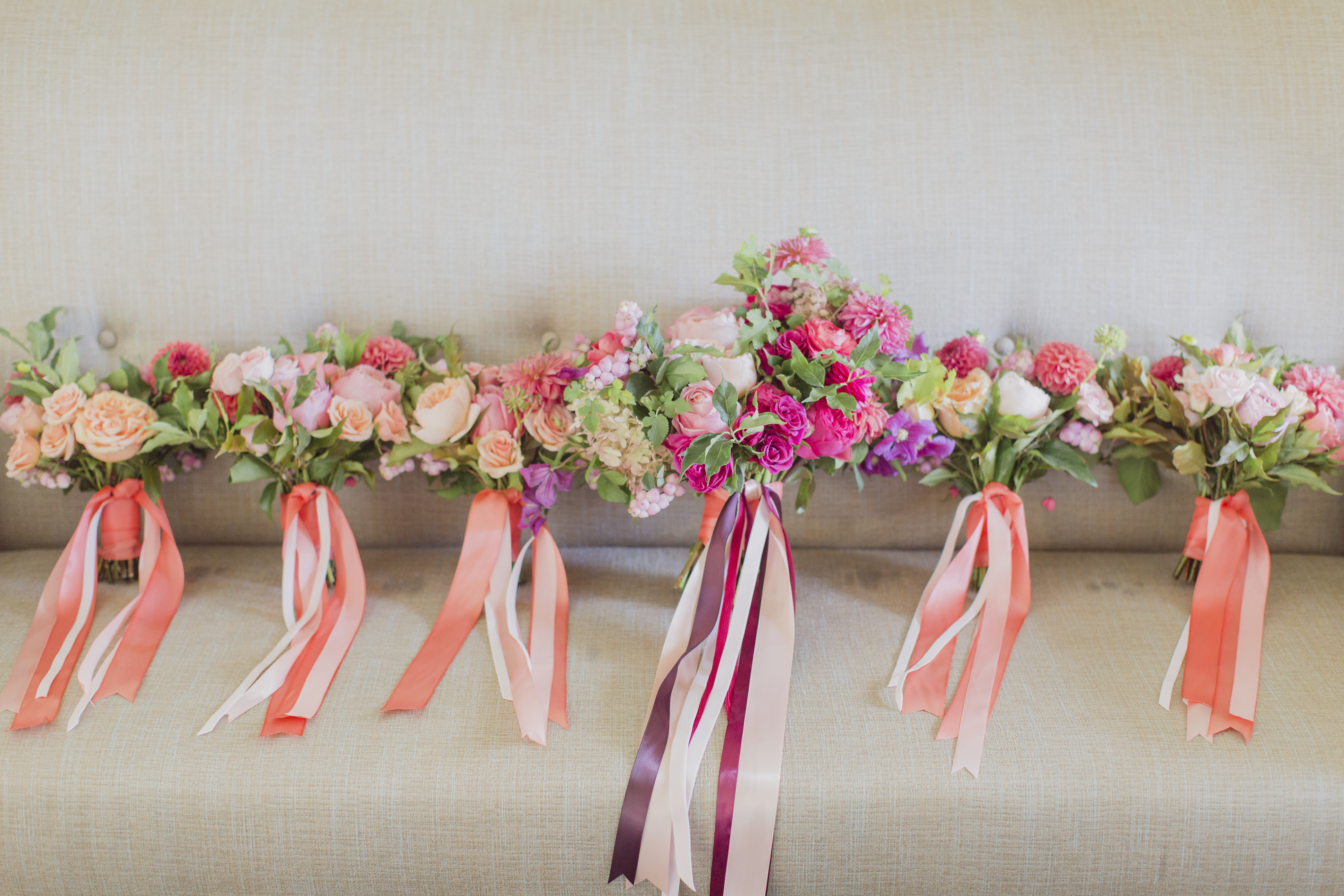 Romantic cranberry and blush floral bouquets. See more at Rebecca Chan Weddings and Events http://www.rebeccachan.ca