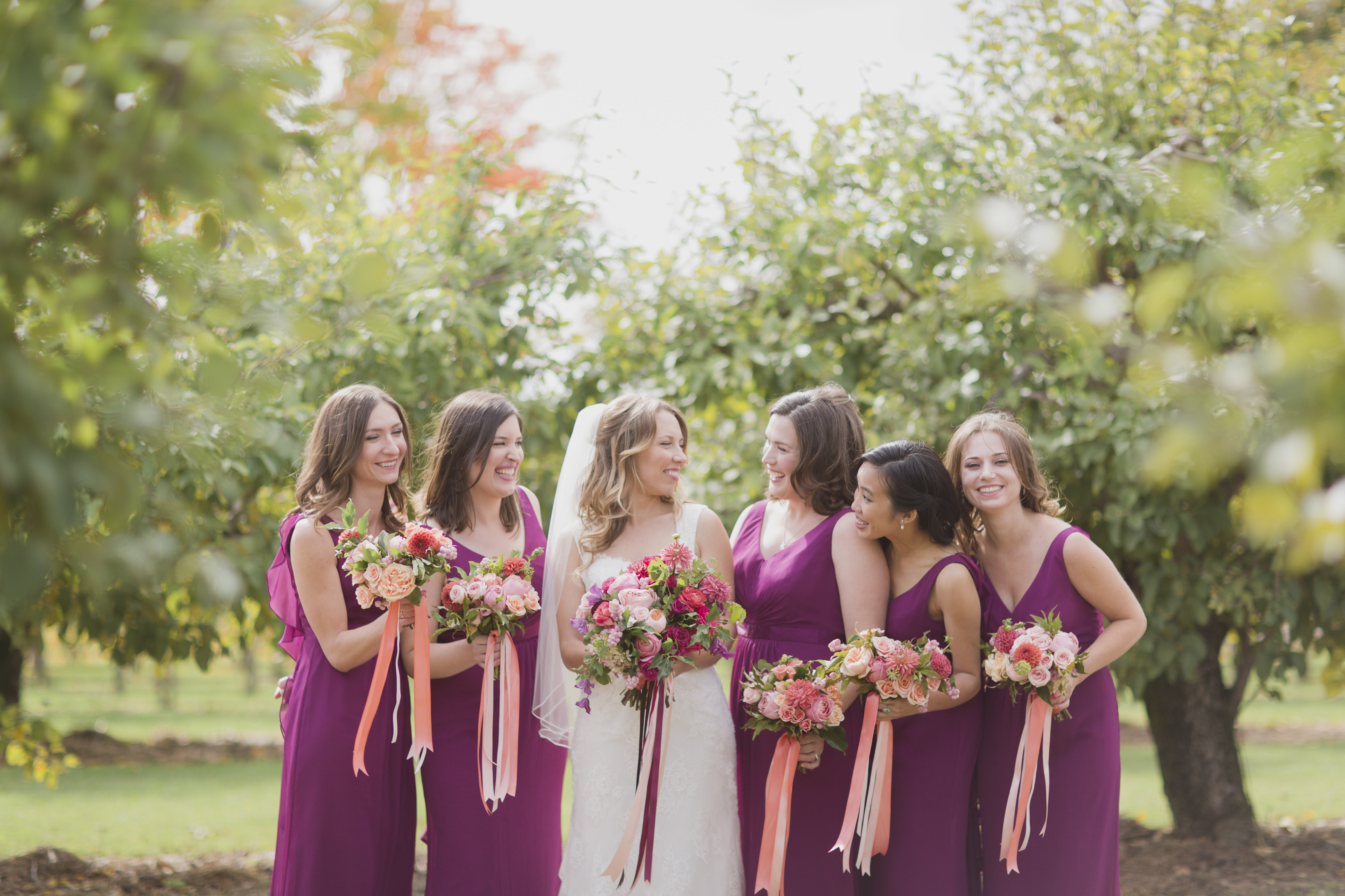 Romantic cranberry and peach fall wedding. See more at Rebecca Chan Weddings and Events http://www.rebeccachan.ca