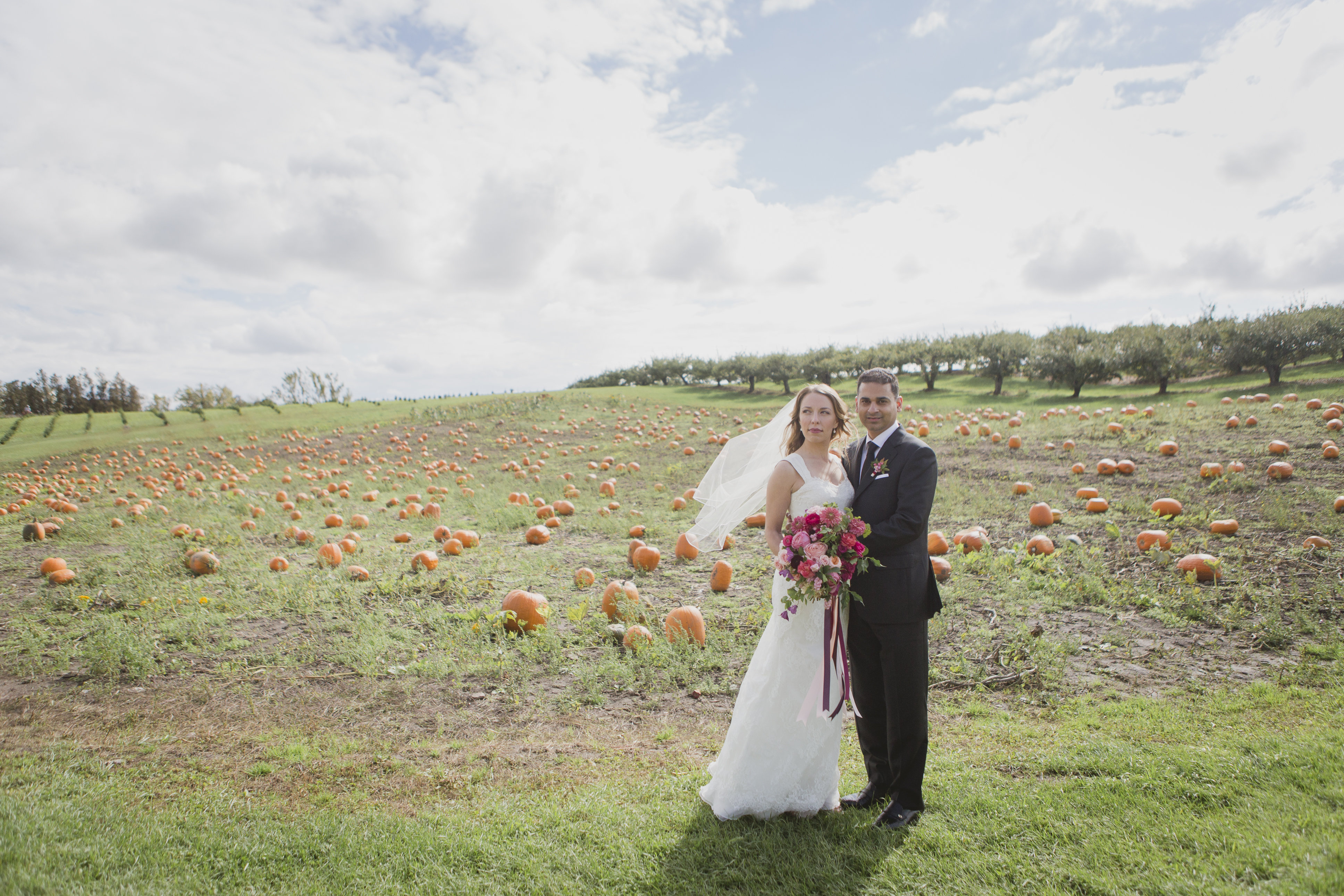 Romantic fall wedding photos in a pumpkin patch. See more at Rebecca Chan Weddings and Events http://www.rebeccachan.ca