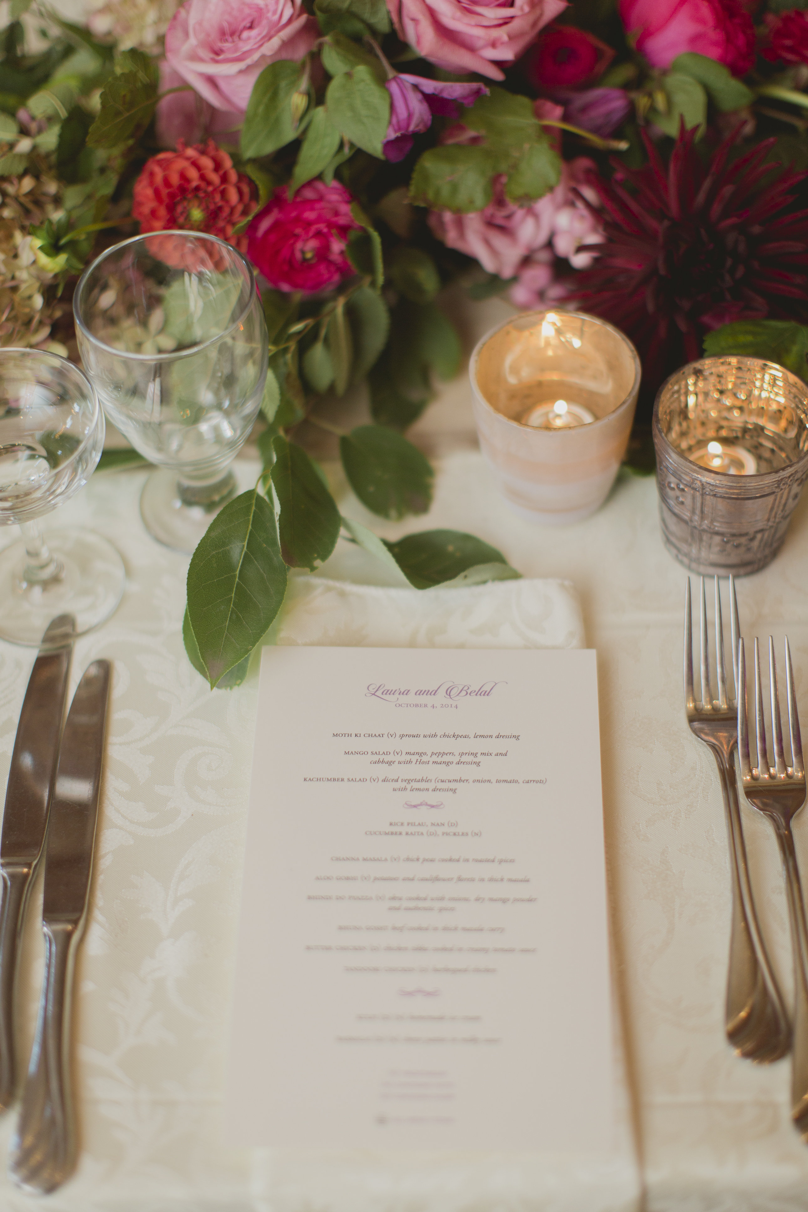Romantic cranberry and blush floral centrepiece and menu. See more at Rebecca Chan Weddings and Events http://www.rebeccachan.ca