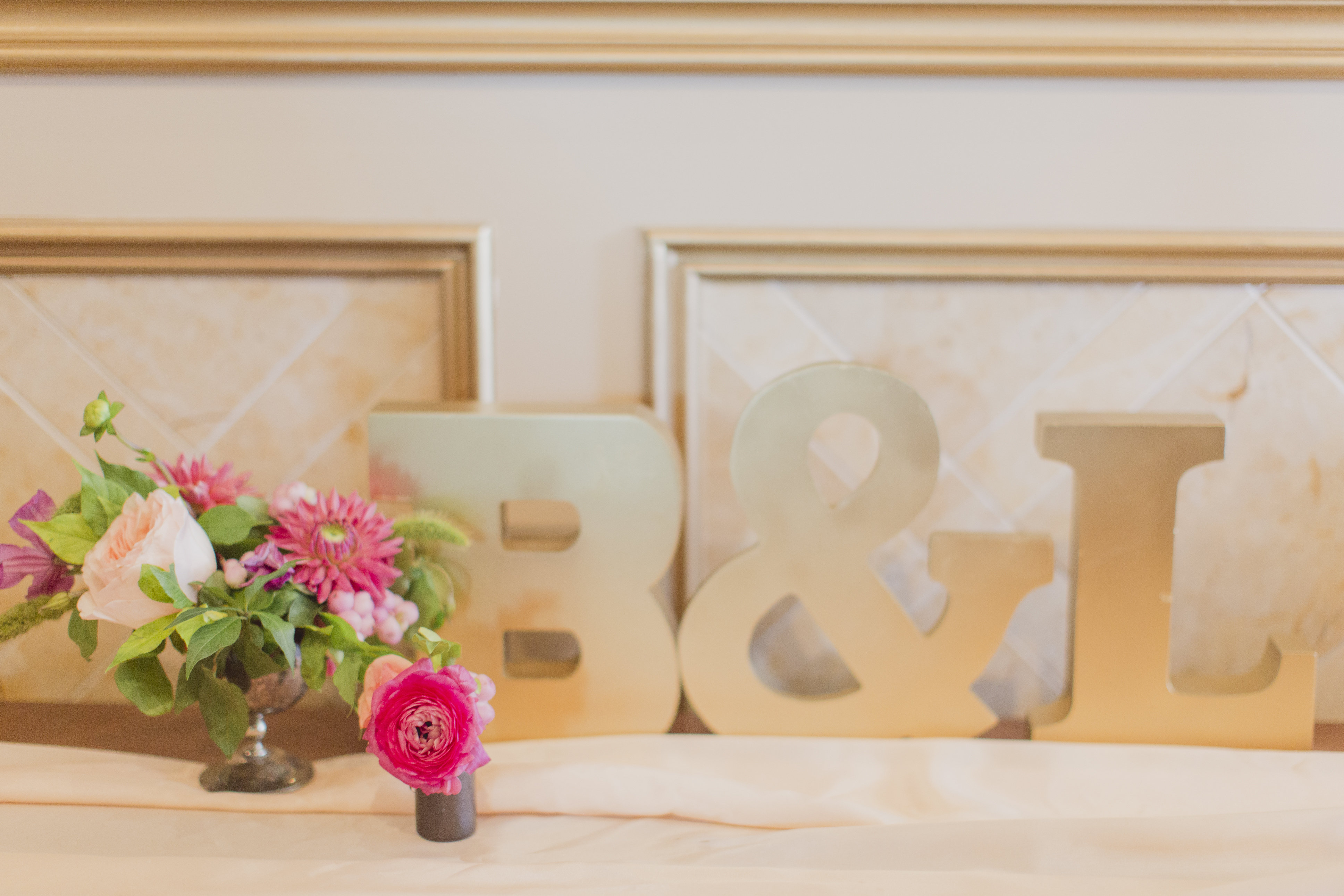 Dainty floral buds with wedding initials. See more at Rebecca Chan Weddings and Events http://www.rebeccachan.ca