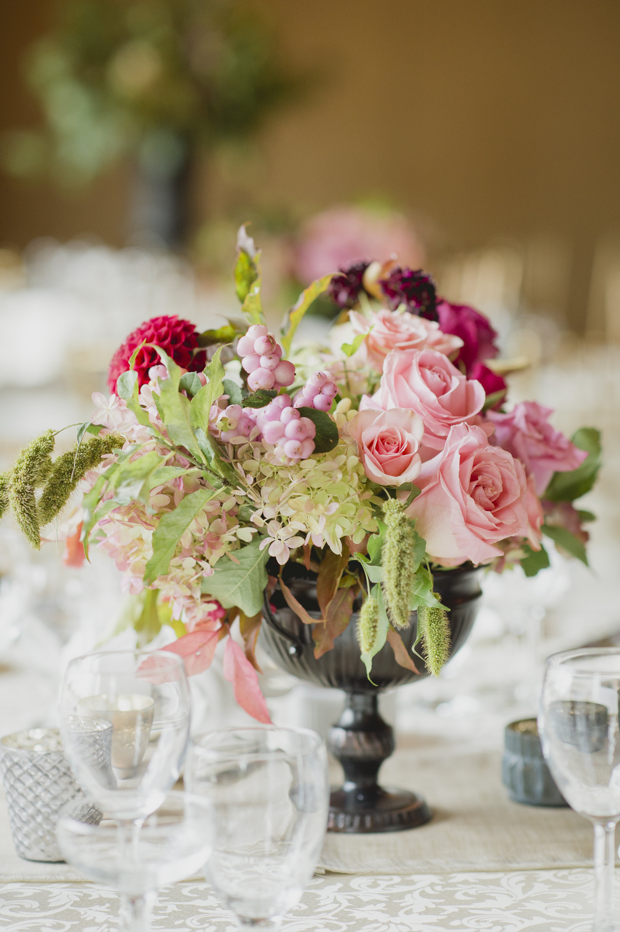 Romantic cranberry and blush floral centrepiece. See more at Rebecca Chan Weddings and Events http://www.rebeccachan.ca