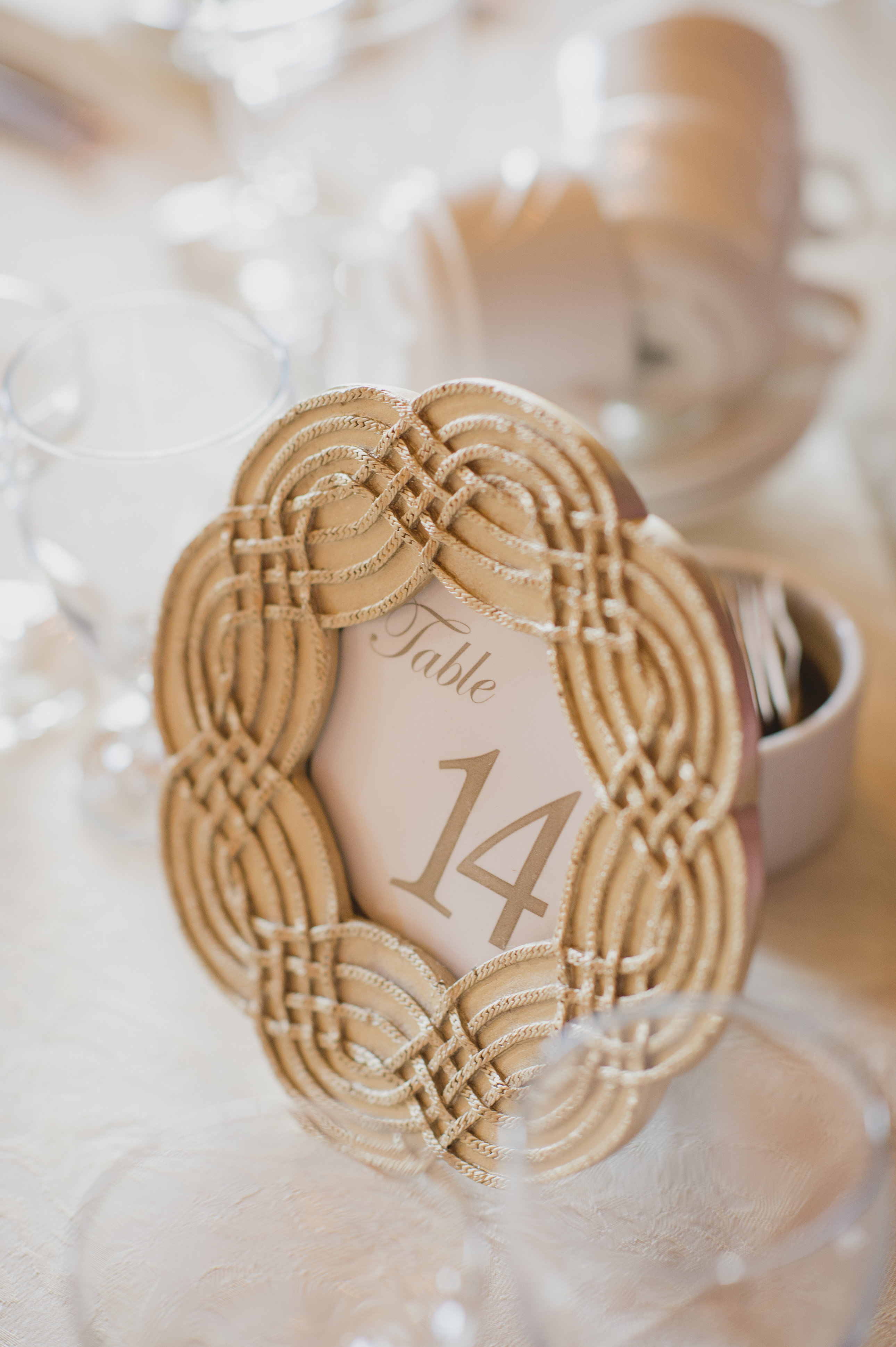 Gold table number frame. See more at Rebecca Chan Weddings and Events http://www.rebeccachan.ca