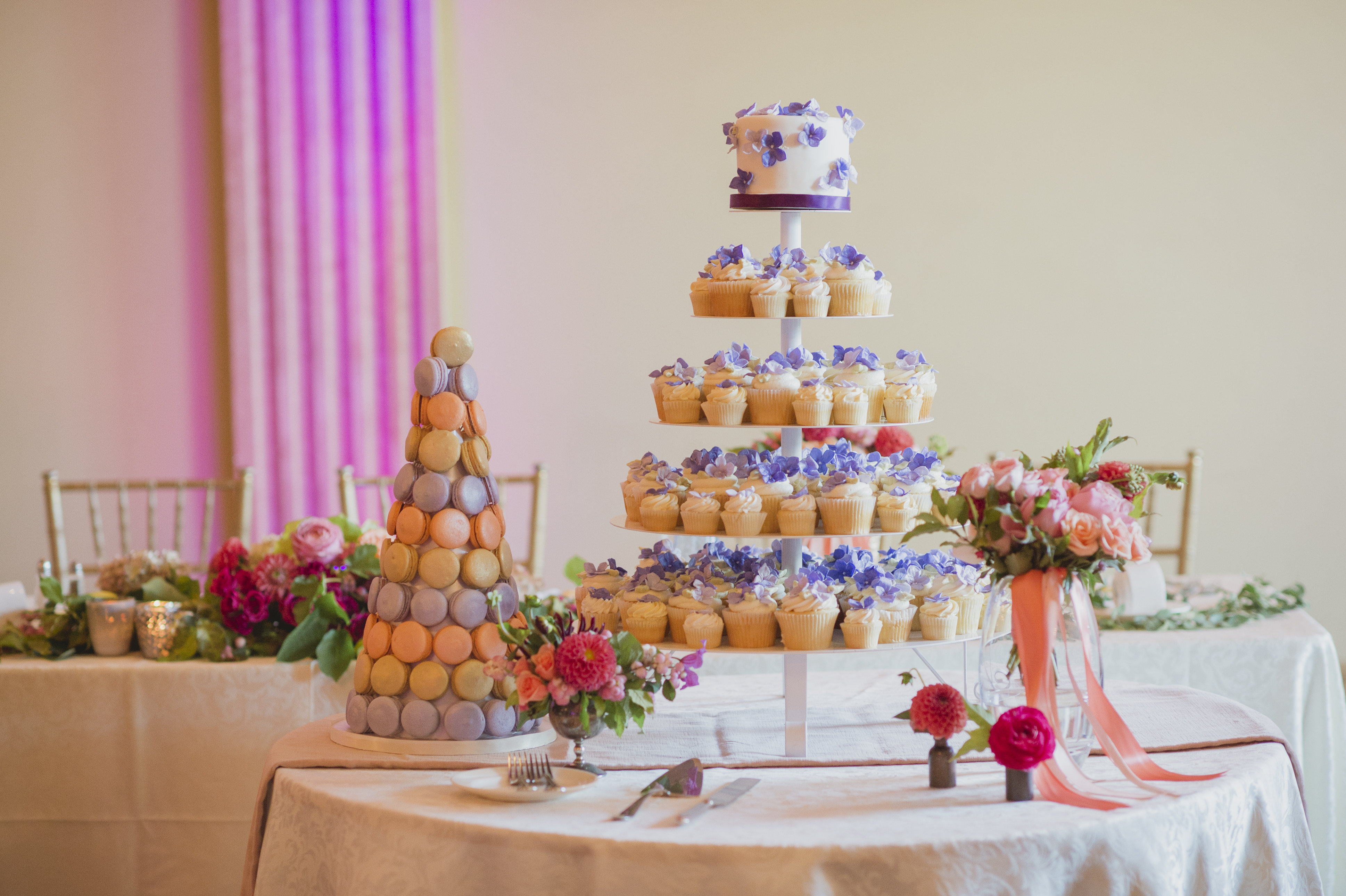 Wedding cake, cupcakes and macaron tower by Bobbette and Belle. See more at Rebecca Chan Weddings and Events http://www.rebeccachan.ca