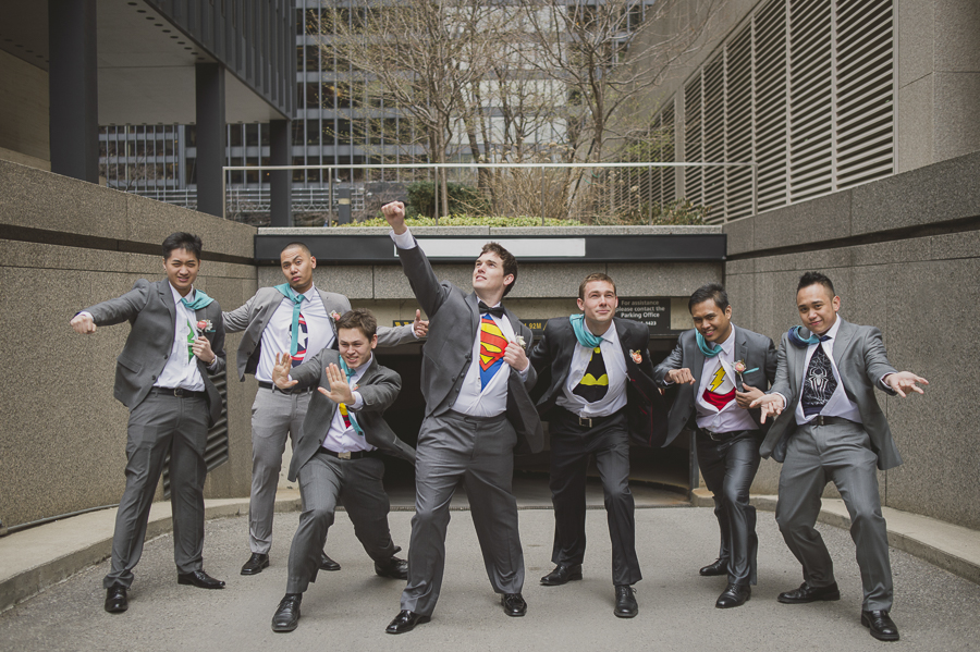 Groom and groomsmen take a superhero pose. See more at Rebecca Chan Weddings and Events http://www.rebeccachan.ca