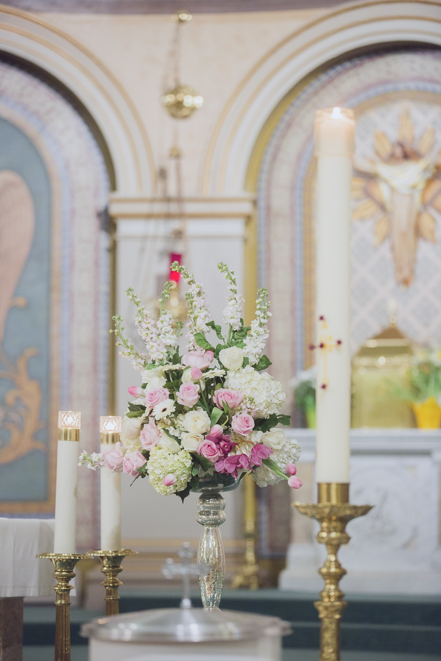 Romantic pink and white floral arrangement at the wedding ceremony. See more at Rebecca Chan Weddings and Events http://www.rebeccachan.ca