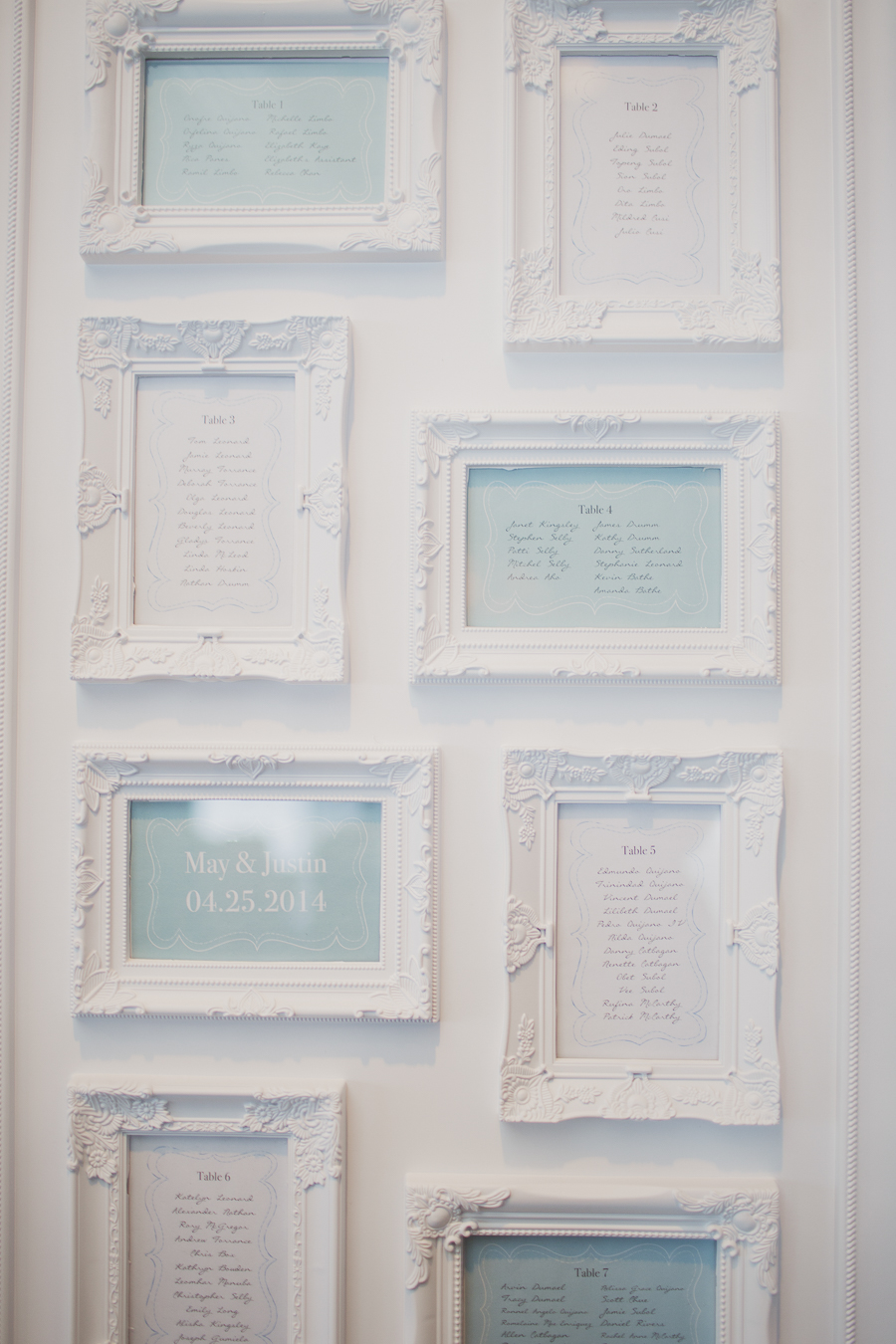 White and blue seating chart. See more at Rebecca Chan Weddings and Events http://www.rebeccachan.ca