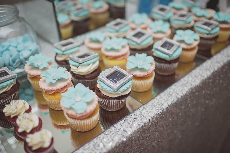 Custom-made Tiffany blue designer cupcakes. See more at Rebecca Chan Weddings and Events http://www.rebeccachan.ca