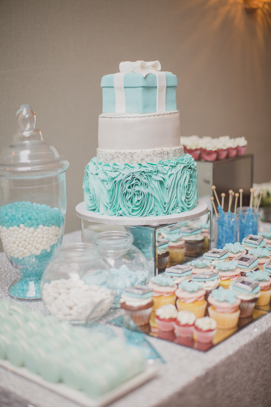Tiffany-inspired wedding cake with ruffles and pearls. See more at Rebecca Chan Weddings and Events http://www.rebeccachan.ca