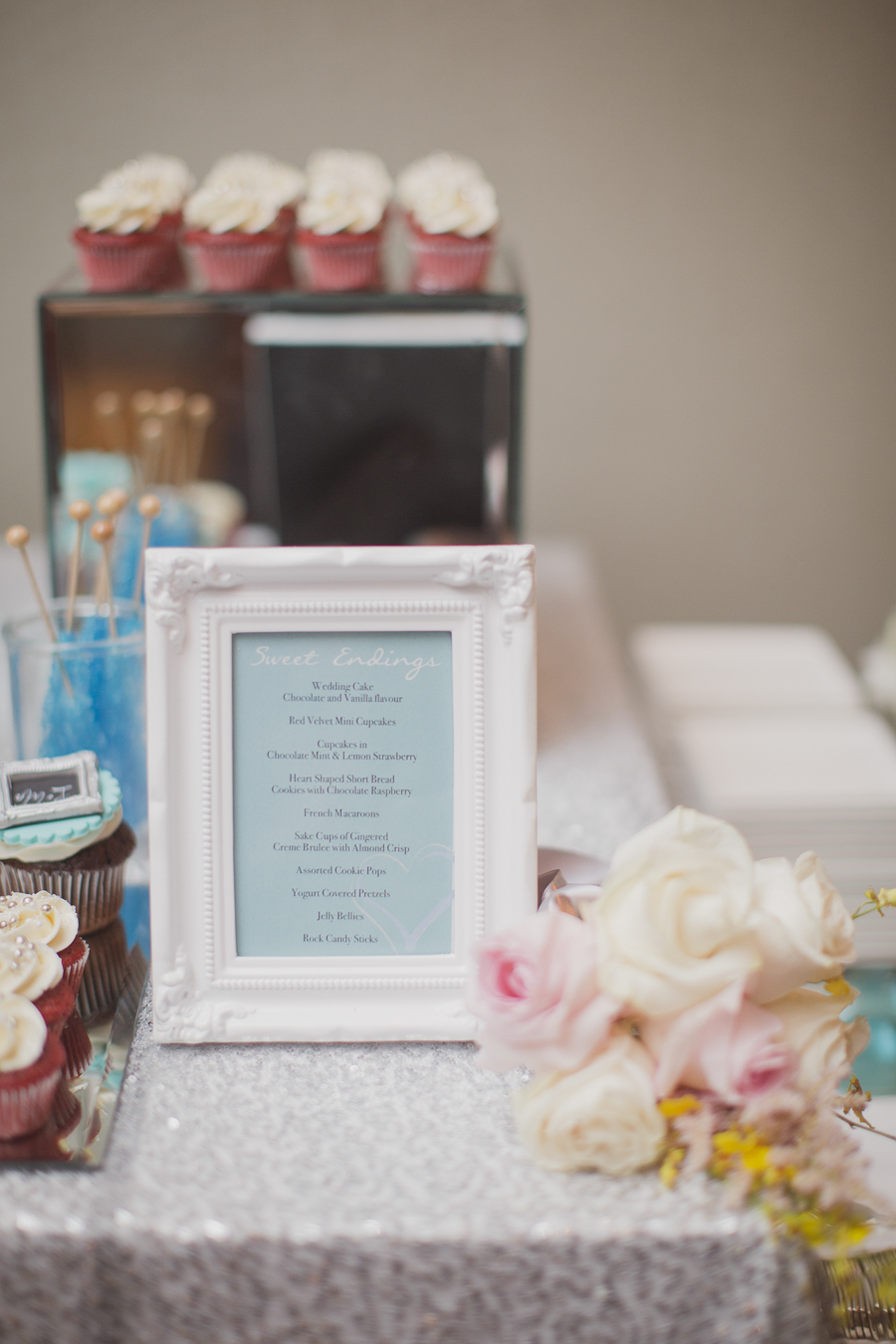 Sweets table framed sign. See more at Rebecca Chan Weddings and Events http://www.rebeccachan.ca