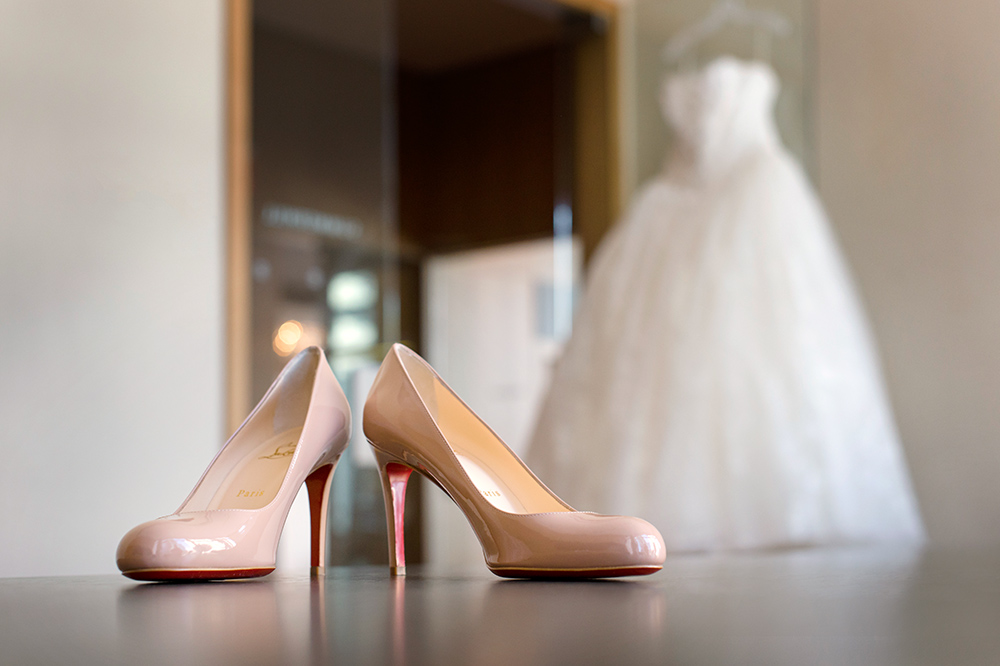 cc0576aa0a8 Best Splurge Designer Bridal Shoes - Classic nude Christian Louboutin heels  from a Cherry Blossom Wedding